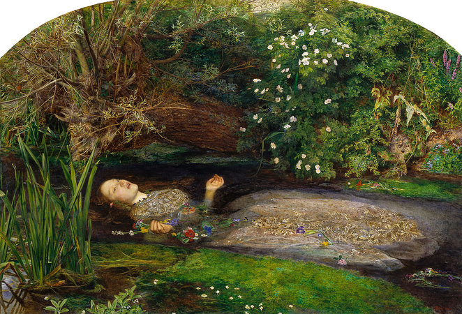 Ophelia painted by John Everett Millais (1852)