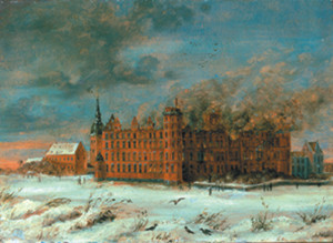 Frederiksborg Castle  was destroyed by large fire Hilleroed